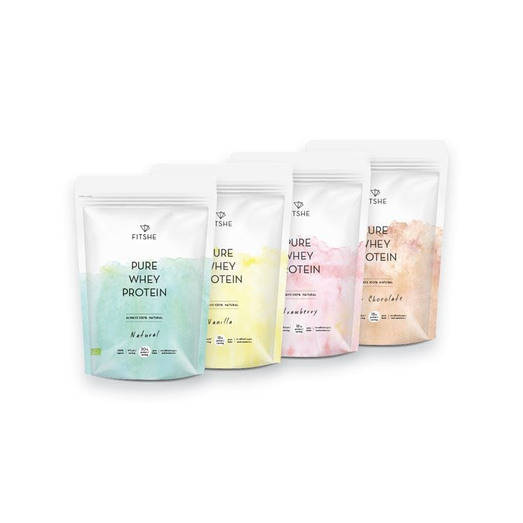 FITSHE all flavour pure whey protein pouches
