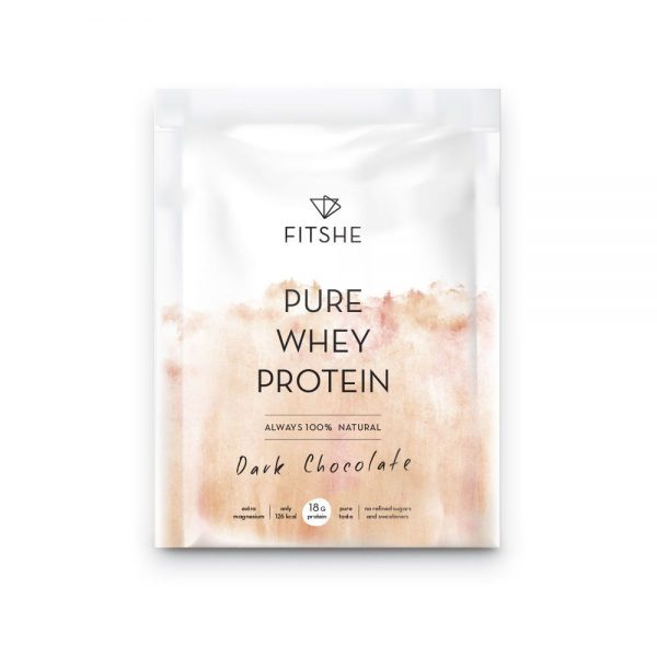 FITSHE pure whey protein dark chocolate sachet productimage