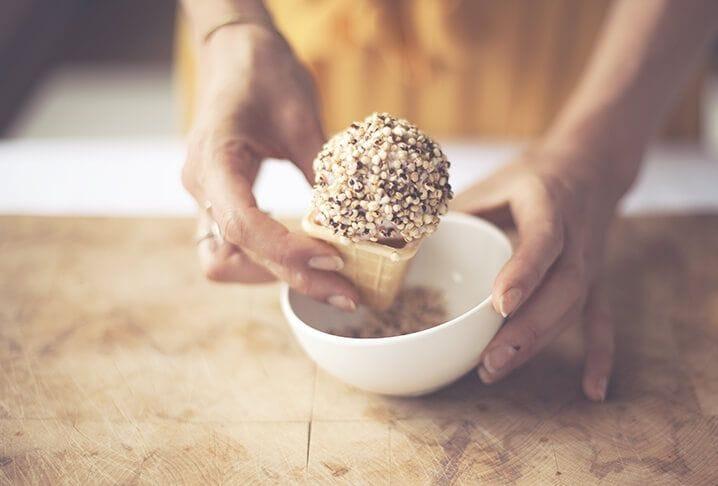 Woman preparing her homemade icecream